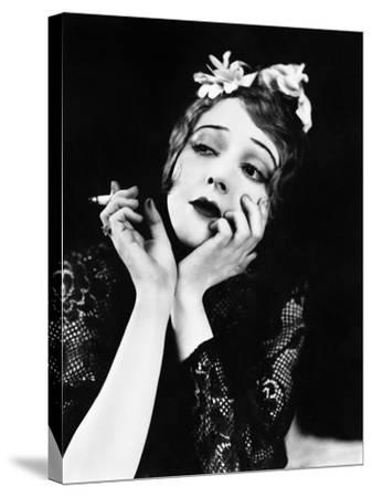 Portrait of Woman Smoking--Stretched Canvas Print