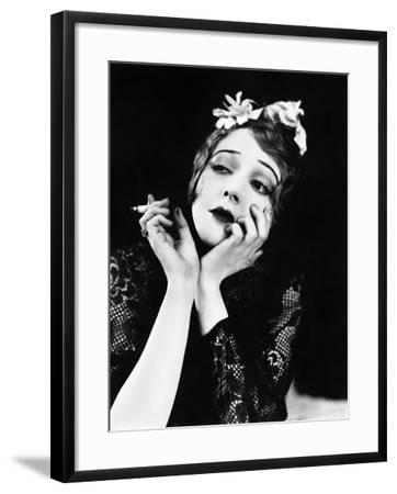 Portrait of Woman Smoking--Framed Photo