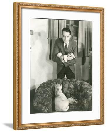Proud Dog Looking at Puppies--Framed Photo
