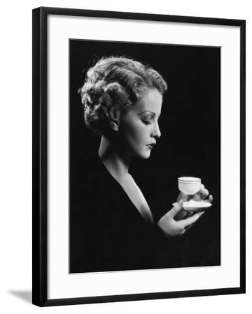 Portrait of Woman with Beverage--Framed Photo
