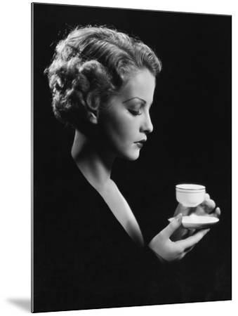 Portrait of Woman with Beverage--Mounted Photo