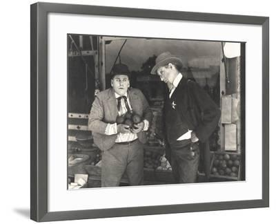 Sheriff Catching Man Stealing from Fruit Stand--Framed Photo