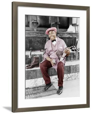 Shoeshine Man Working and Smiling--Framed Photo