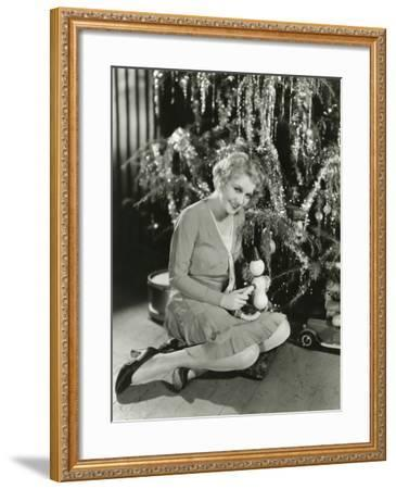 Sitting by the Christmas Tree--Framed Photo