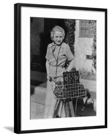 Woman with Bicycle and Radio--Framed Photo