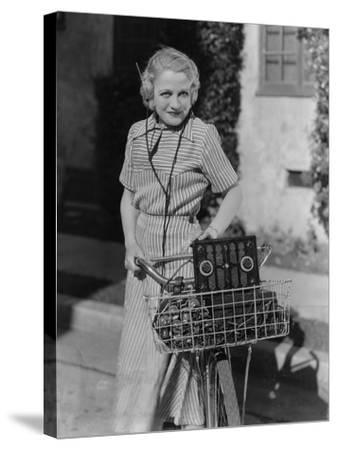 Woman with Bicycle and Radio--Stretched Canvas Print