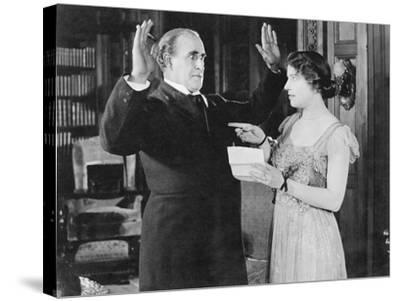 Woman with a Letter in Her Hand Pointing at a Man--Stretched Canvas Print