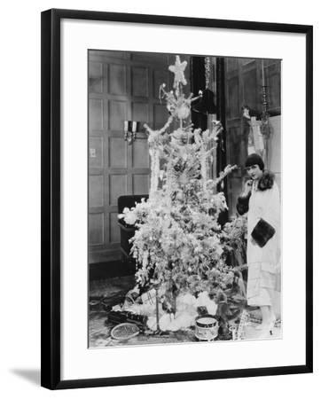 Woman with Christmas Tree and Gifts--Framed Photo