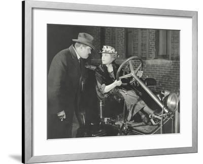Woman Taking the Car for a Spin Against Husband's Wishes--Framed Photo