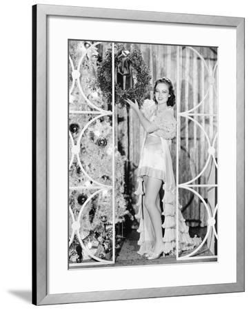 Woman in Lingerie Holding a Christmas Wreath--Framed Photo