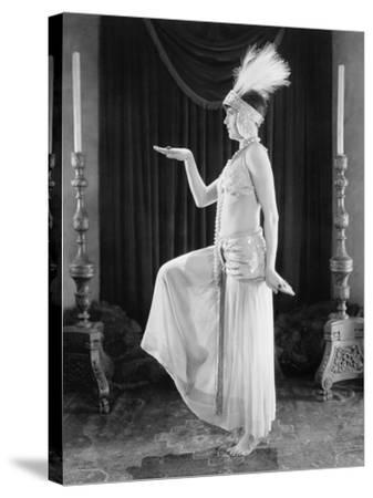 Woman Posing in a Exotic Dress--Stretched Canvas Print