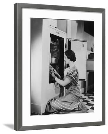 Woman with Refrigerator--Framed Photo