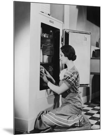 Woman with Refrigerator--Mounted Photo