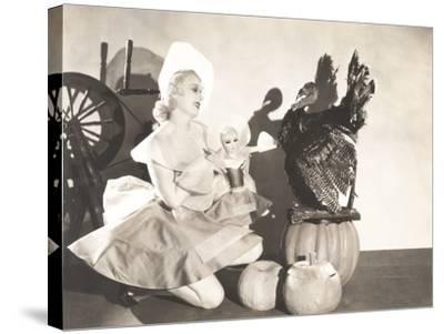 Woman Holding Doll Wearing Identical Thanksgiving Costume--Stretched Canvas Print