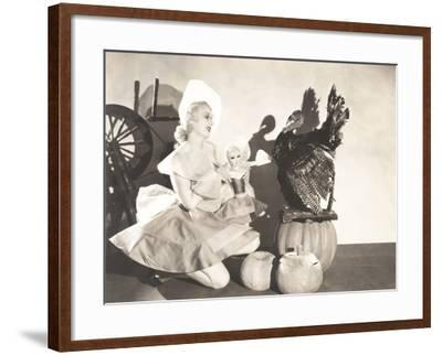 Woman Holding Doll Wearing Identical Thanksgiving Costume--Framed Photo