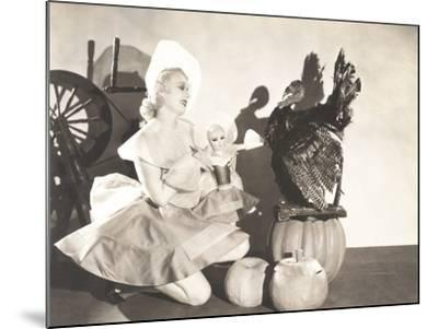 Woman Holding Doll Wearing Identical Thanksgiving Costume--Mounted Photo