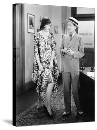 Woman Showing Her Legs to a Man--Stretched Canvas Print