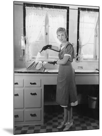 Woman Washing Dishes--Mounted Photo