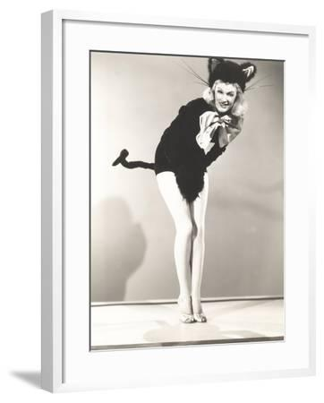 Woman Wearing Cat Costume--Framed Photo