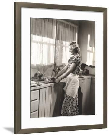 Woman Making Homemade Orange Juice--Framed Photo