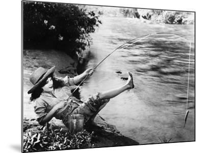 Woman Who Caught a Small Fish Falling over Backwards--Mounted Photo