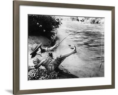 Woman Who Caught a Small Fish Falling over Backwards--Framed Photo