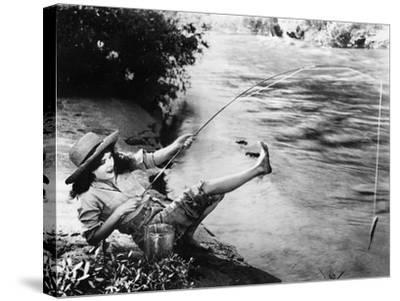 Woman Who Caught a Small Fish Falling over Backwards--Stretched Canvas Print