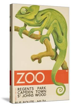 Zoo, Iguana London Bus Route No. 74 Advertising Poster-David Pollack-Stretched Canvas Print