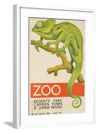 Zoo, Iguana London Bus Route No. 74 Advertising Poster-David Pollack-Framed Photographic Print
