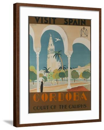 Visit Spain, Cordoba Court of the Caliphs Spanish Travel Poster-David Pollack-Framed Photographic Print
