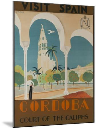 Visit Spain, Cordoba Court of the Caliphs Spanish Travel Poster-David Pollack-Mounted Photographic Print