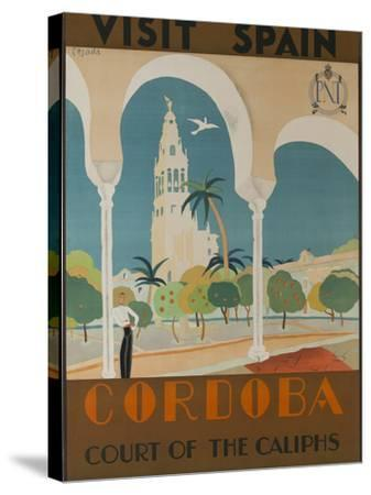 Visit Spain, Cordoba Court of the Caliphs Spanish Travel Poster-David Pollack-Stretched Canvas Print