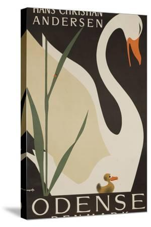 Odense Denmark Travel Poster, Hans Christian Andersen Ugly Duckling-David Pollack-Stretched Canvas Print