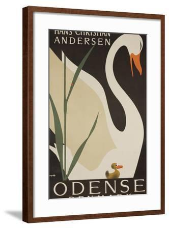 Odense Denmark Travel Poster, Hans Christian Andersen Ugly Duckling-David Pollack-Framed Photographic Print