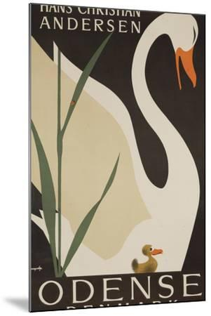Odense Denmark Travel Poster, Hans Christian Andersen Ugly Duckling-David Pollack-Mounted Photographic Print