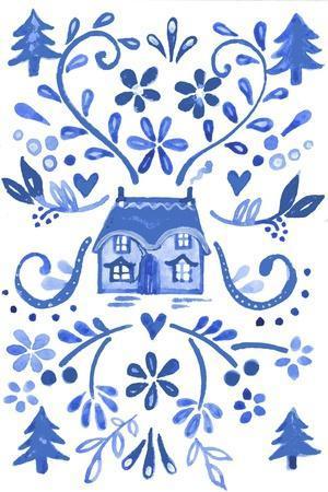 Blue Cottage-Elizabeth Rider-Stretched Canvas Print