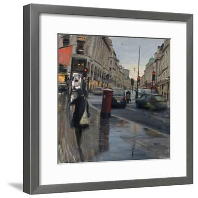 Regent Street in Rain with Taxi, 2018-Tom Hughes-Framed Giclee Print
