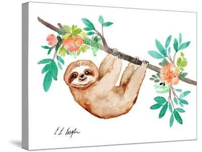 Little Brown Sloth with Flowers-Elise Engh-Stretched Canvas Print