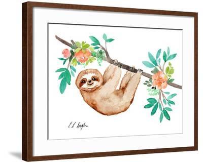 Little Brown Sloth with Flowers-Elise Engh-Framed Art Print