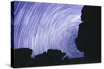 Chile, Monjes De Pakana, Startrail, Rock Formations-Jutta Ulmer-Stretched Canvas Print
