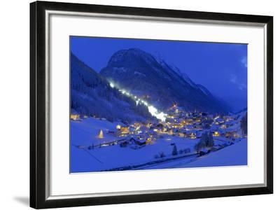 Austria, Ischgl, Local Overview, Winter, by Night,-Ludwig Mallaun-Framed Photographic Print