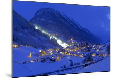 Austria, Ischgl, Local Overview, Winter, by Night,-Ludwig Mallaun-Mounted Photographic Print