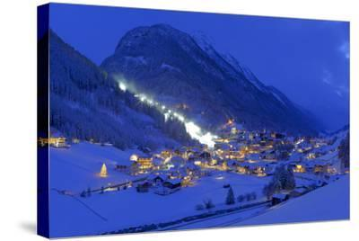 Austria, Ischgl, Local Overview, Winter, by Night,-Ludwig Mallaun-Stretched Canvas Print