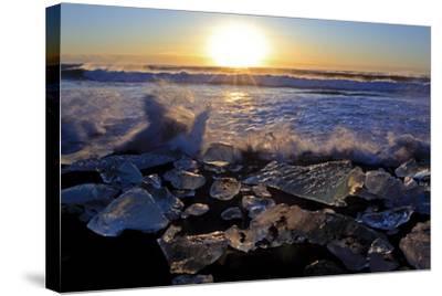 Iceland, Iceland, the South, Jökulsarlon, Breidamerkurjökull, Ice in the Breidamerkursandur-Bernd Rommelt-Stretched Canvas Print