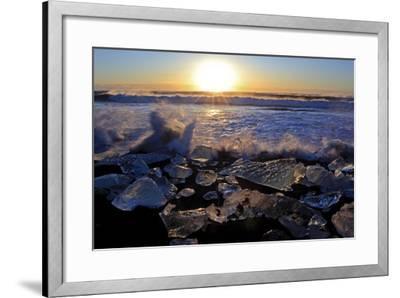 Iceland, Iceland, the South, Jökulsarlon, Breidamerkurjökull, Ice in the Breidamerkursandur-Bernd Rommelt-Framed Photographic Print