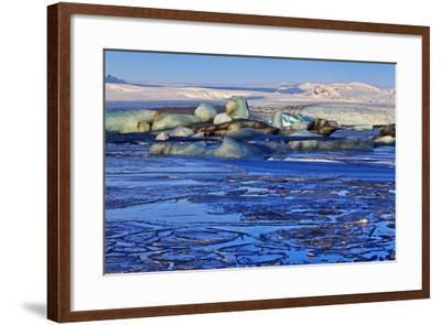 Iceland, Iceland, the South, Breidamerkurjökull, Glacier Ice in the Glacier Lagoon Jökulsarlon-Bernd Rommelt-Framed Photographic Print