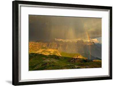 Italy, Region Trentino South Tirol, the Dolomites, Thunderstorm and Rainbow About the Rose Garden M-Bernd Rommelt-Framed Photographic Print