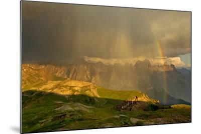Italy, Region Trentino South Tirol, the Dolomites, Thunderstorm and Rainbow About the Rose Garden M-Bernd Rommelt-Mounted Photographic Print