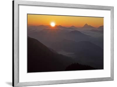 Germany, Bavaria, Bavarian Alpine Foothills, Jochberg, Sunrise Above the Mangfallgebirge, Halserspi-Bernd Rommelt-Framed Photographic Print