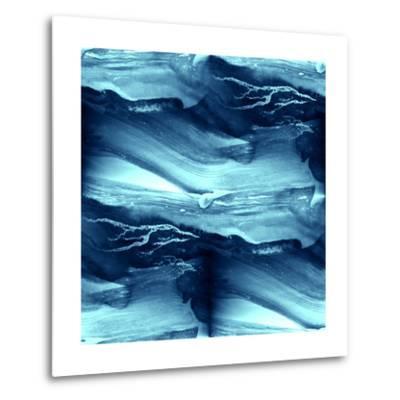 Water Blue Sea Waves Watercolor-maxim ibragimov-Metal Print